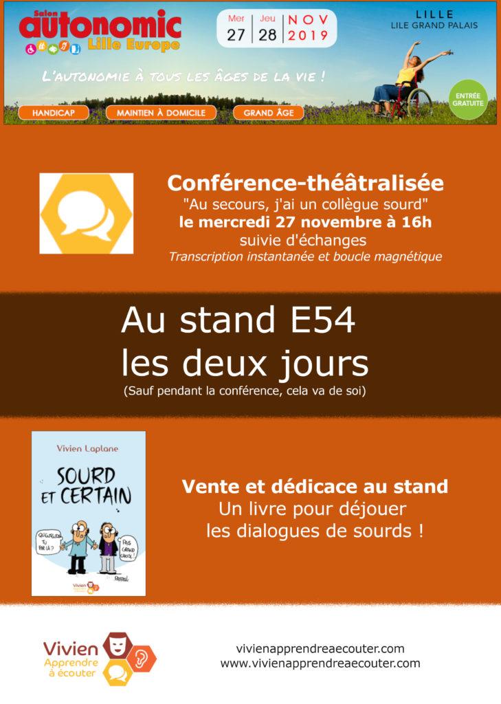 Promotion du stand Vivien Apprendre à écouter au Salon Autonomic de Lille